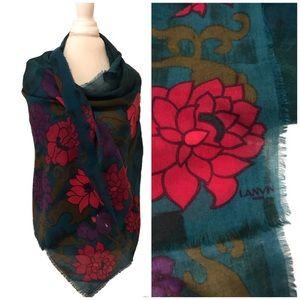 Gorgeous vintage Lanvin scarf with fringe edge